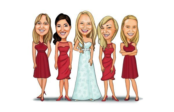 bride caricature Wedding Party Giveaway
