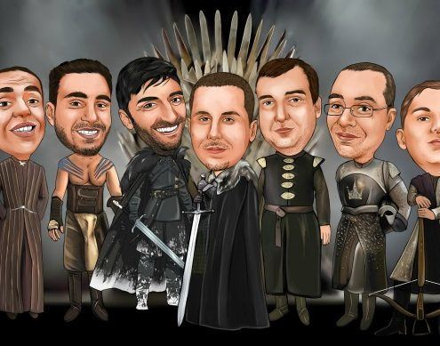 game of thrones wedding party caricature