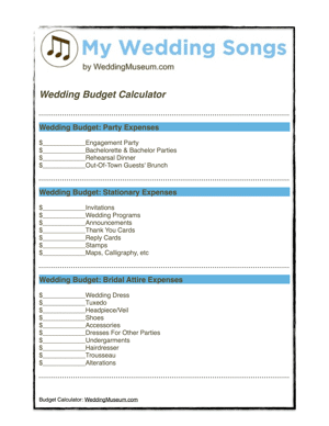 wedding worksheets tools my wedding songs