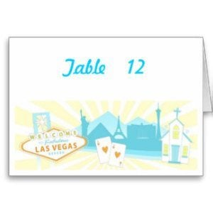 las vegas theme wedding table number cards