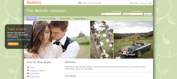 shutterfly - Best Wedding Websites Builders