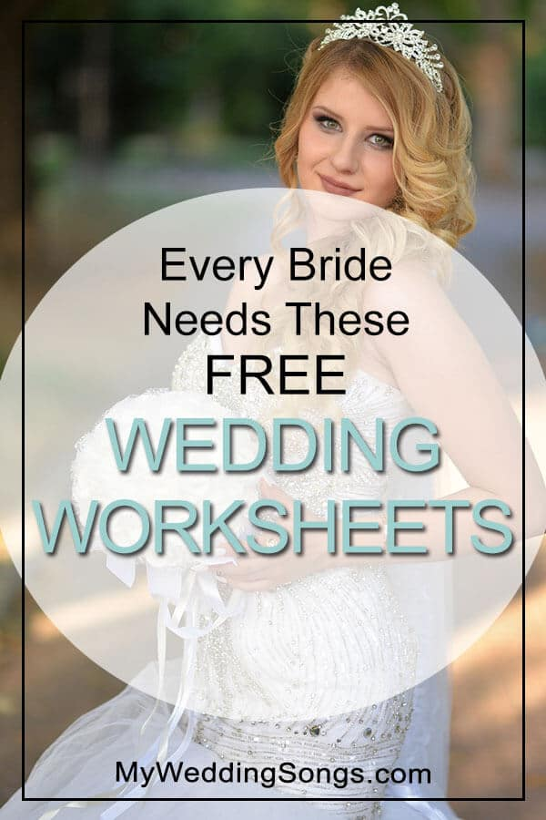 free wedding worksheets